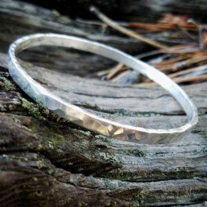 Sterling Silver Hammered Bangle Stacking Bracelet