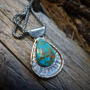 Number 8 Mine Turquoise Native American Pendant