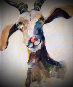 Janice Rhodes - Encaustic - Nanny Goat