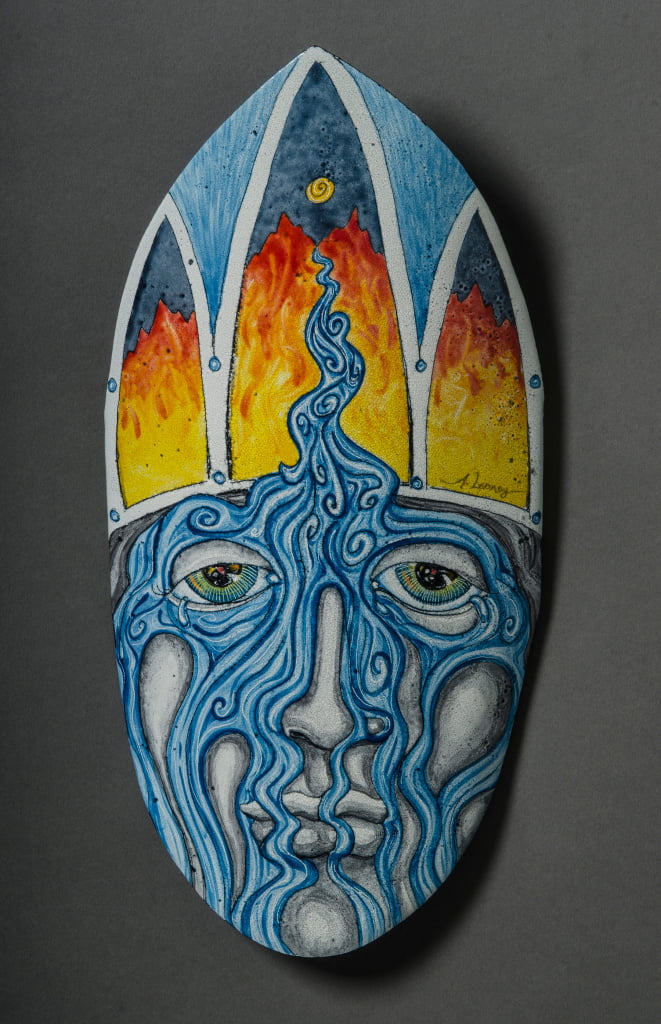 "I am a River (Spirit Mask), Enamel (glass) on Steel, 11"" Wall Sculpture"