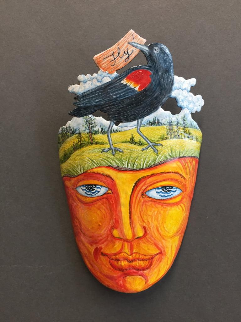Red-Winged Blackbird (Spirit Mask), Enamel (glass) on Steel, 5 inch Wall Sculpture